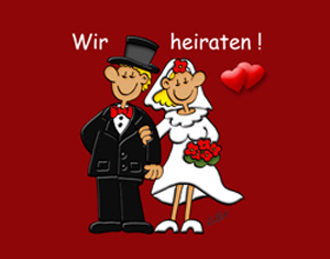 kostenlose ecard Hochzeit: Wir heiraten!